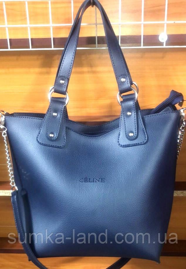 Женская синяя сумка 2 в 1 Celine класса Люкс 31*33 см (с клатчем)