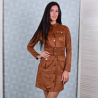 Замшевое платье для женщин цвета корицы Winter D102-1 S Размер 40-42
