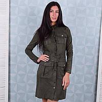 Замшевое платье для женщин хвойного цвета Winter D102-3 M Размер 42-44