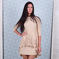 Элегантное женское платье с перфорацией бежевого цвета Winter D103-1 S Размер 40-42