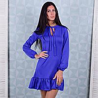 Женское трикотажное платье с воланом синего цвета Winter D104-2 S Размер 40-42
