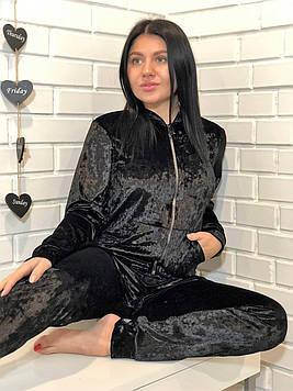 Черный велюровый костюм для домаТМExclusive: кофта на змейкеи штаны
