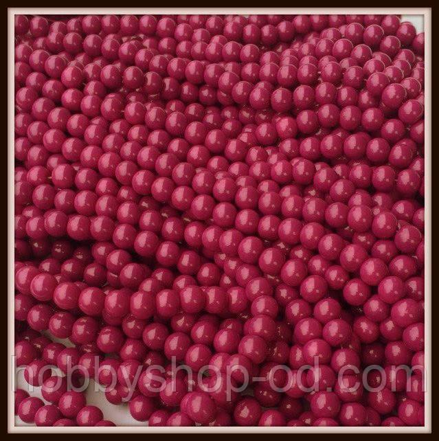Бусины керамика 8 мм малиново-фиолетовый ( 100-110 шт на нитке)
