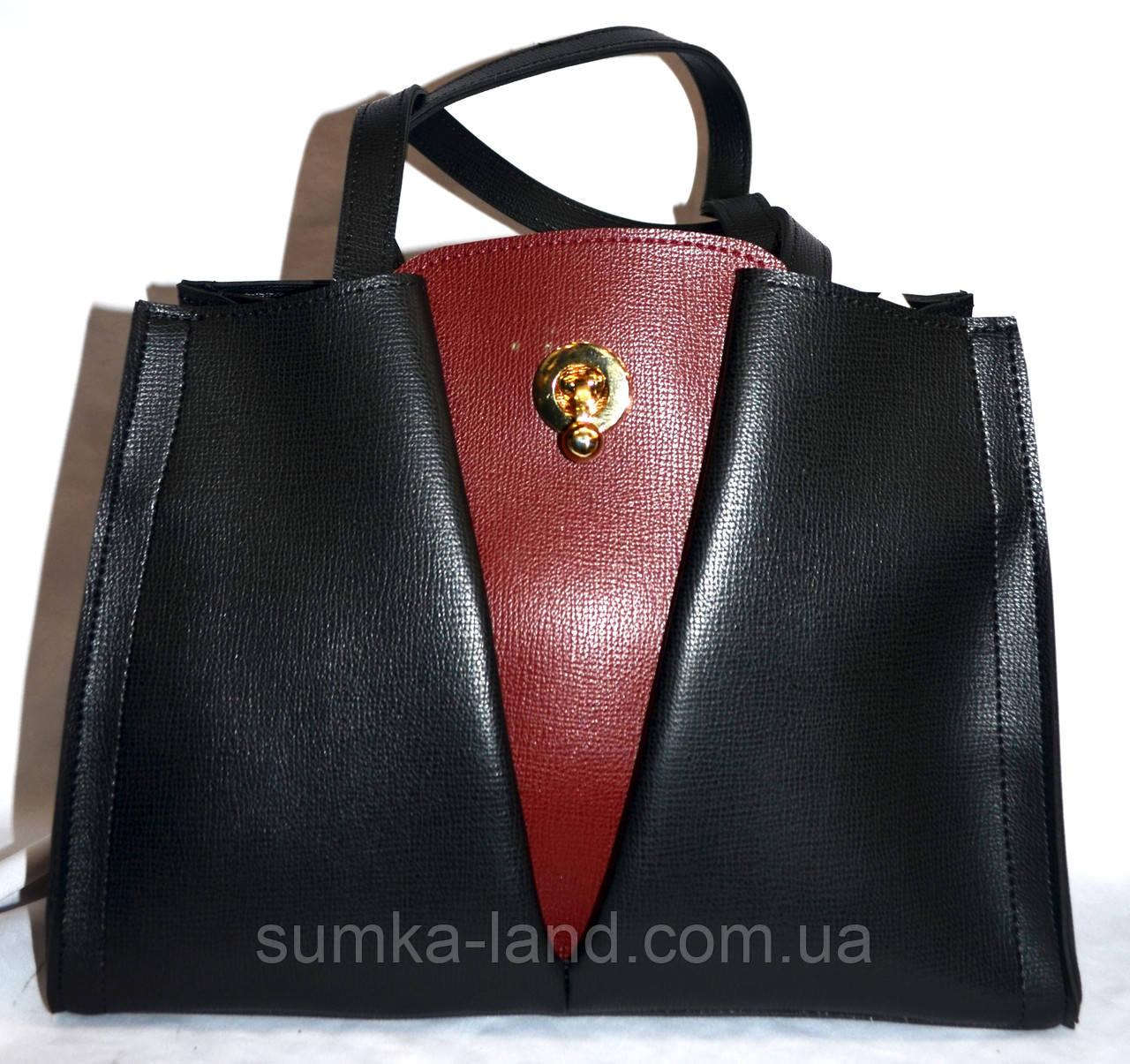 Женская черная сумка класса Люкс с бордовой вставкой 31*23 см