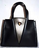 Женская черная сумка класса Люкс с графитовой вставкой 31*23 см , фото 1