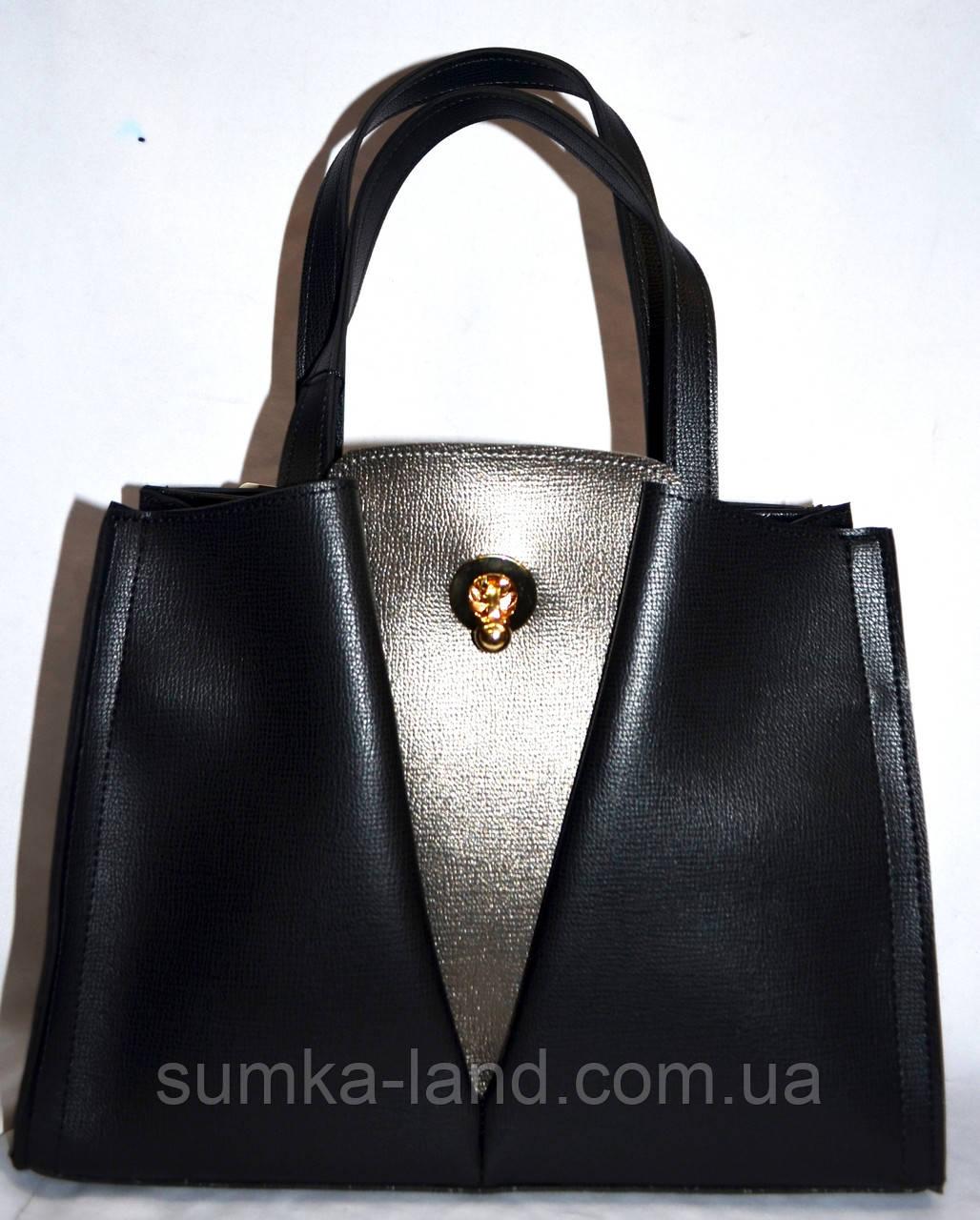 Женская черная сумка класса Люкс с графитовой вставкой 31*23 см