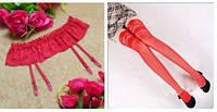 Эротический комплект чулки + пояс для чулок (размер 1/2) все цвета: красный, черный, белый, розовый., фото 1