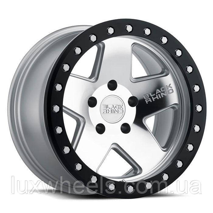 BLACK RHINO Crawler Beadlock SILVER W/ MIRROR FACE & BLACK LIP RING