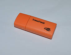 Картридер Card reader карт ридер переходник Micro SD USB TransFlash оранжевый, фото 2