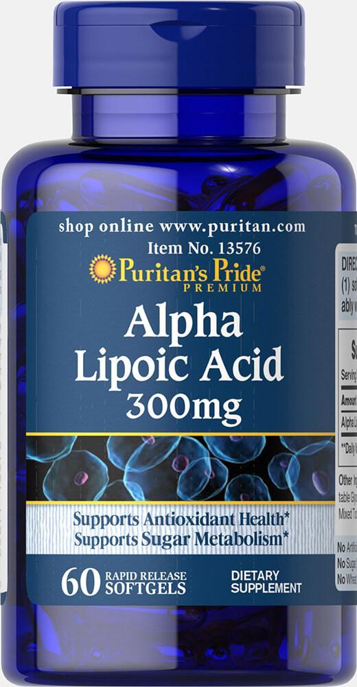 Puritan's Pride Alpha Lipoic Acid, альфа липоевая кислота 300 mg (60 капс.)
