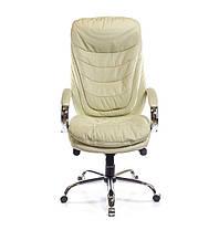Кресло Валенсия Хром Soft комбинированная кожа люкс Бежевая (АКЛАС-ТМ), фото 3