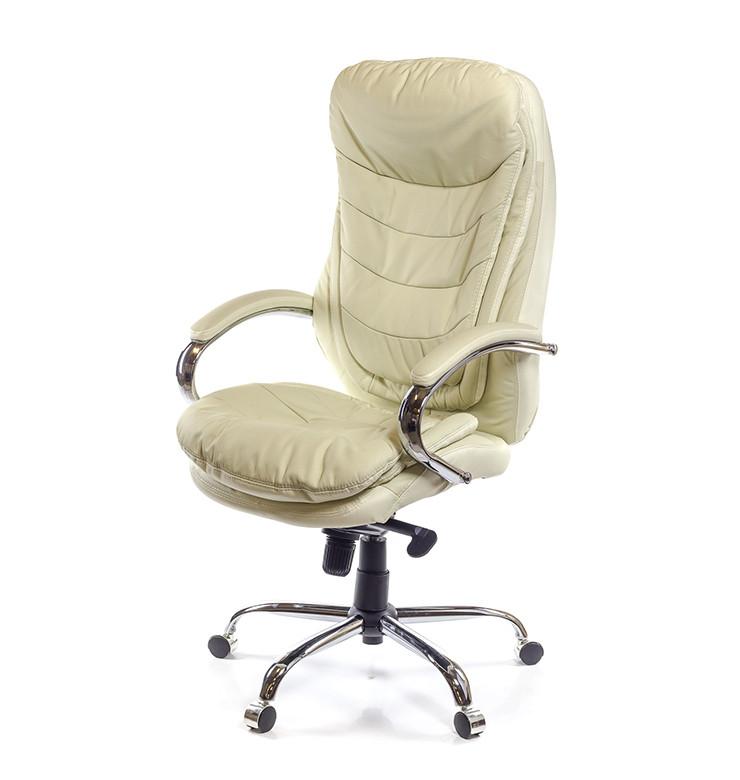 Кресло Валенсия Хром Soft комбинированная кожа люкс Бежевая (АКЛАС-ТМ)
