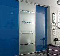 Дверь купе на цветное стекло + сатин (2400х600)