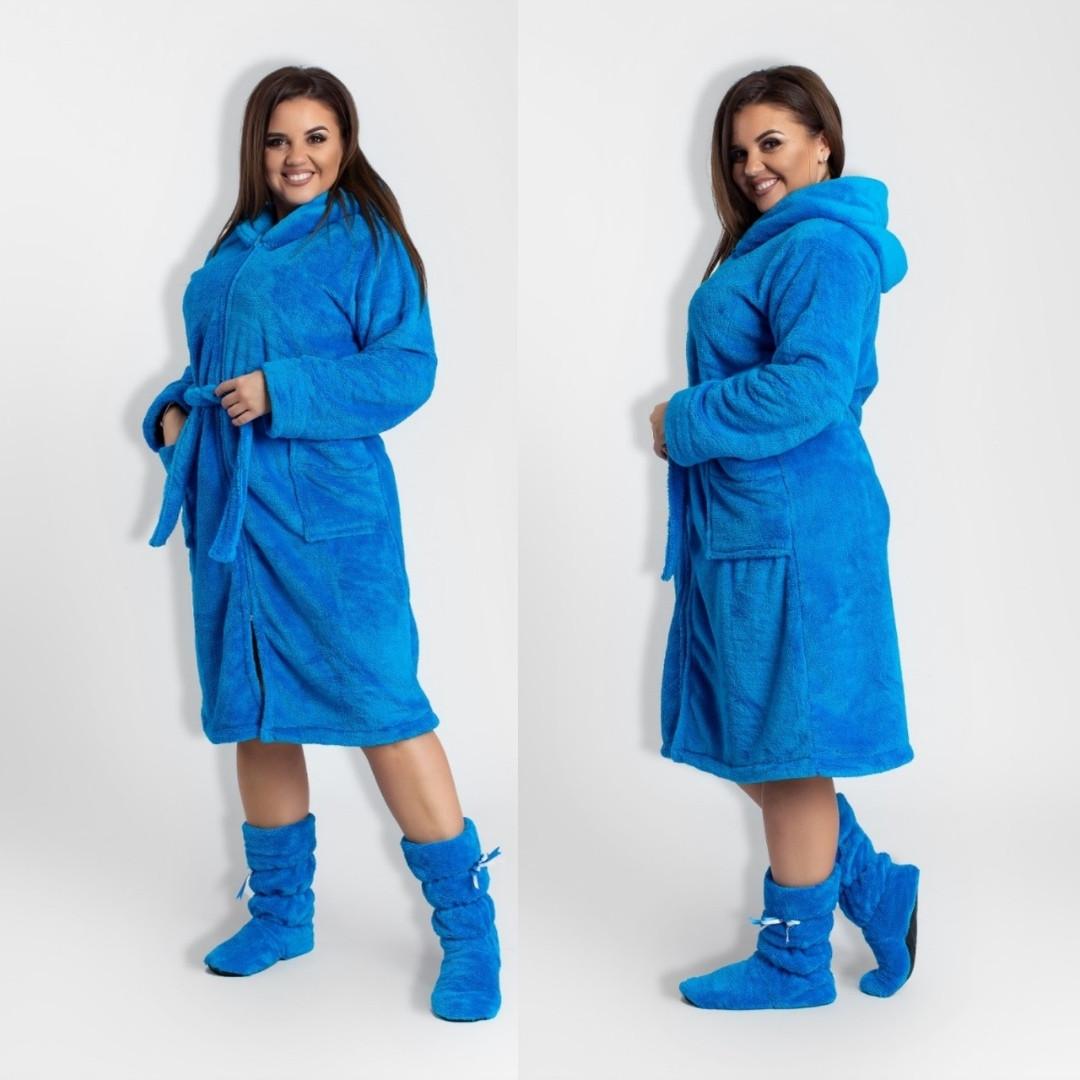 Женский махровый халат на молнии батал, фото 1