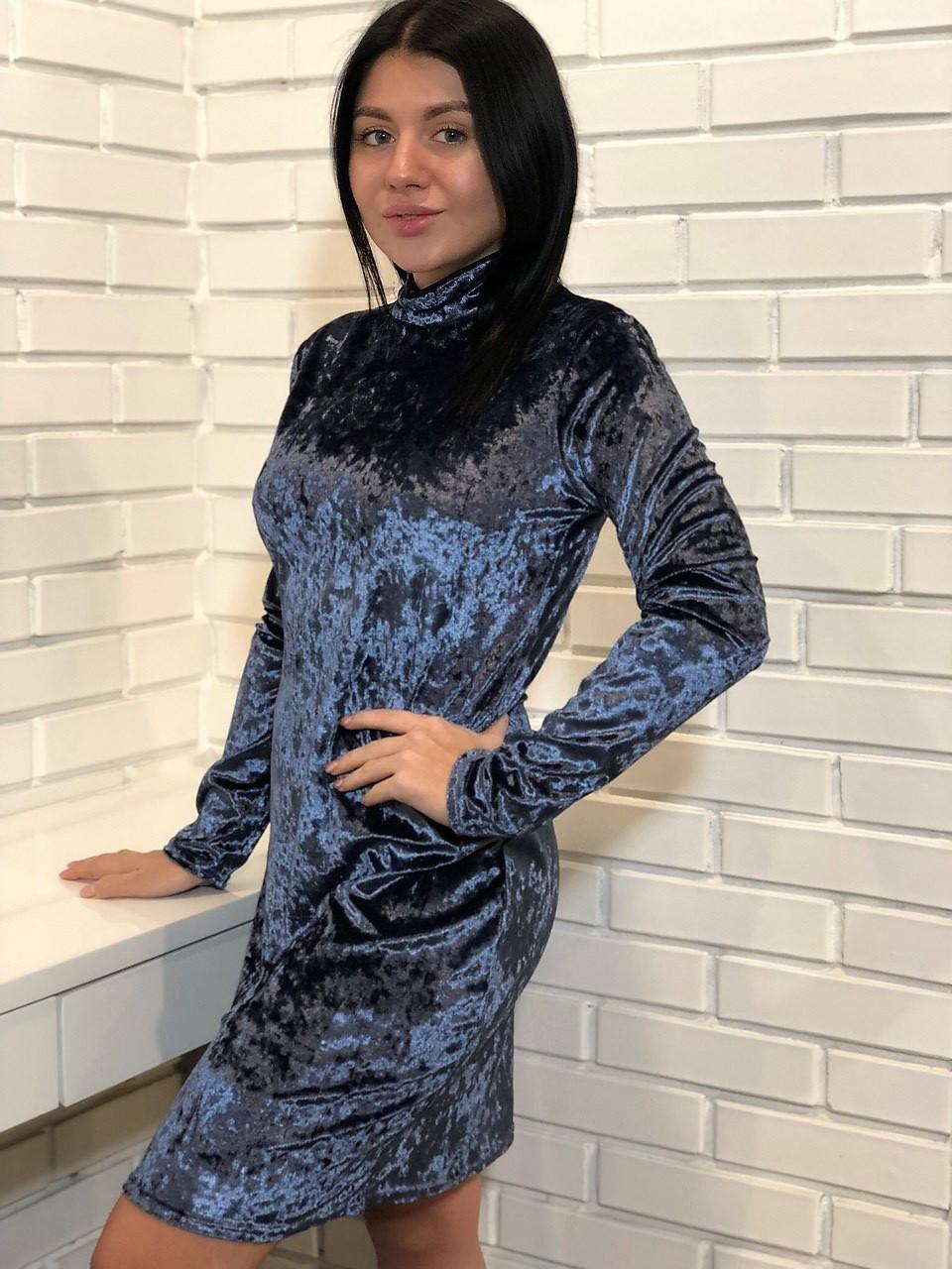 Новинка сезона. Изысканное мини-платье из мраморного велюра темно-серого цвета