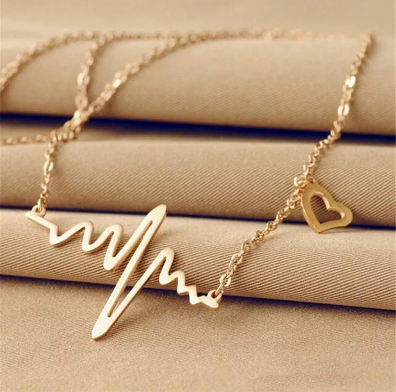Женский кулон кардиограмма ритм сердца с цепочкой «Cardio» (золото)