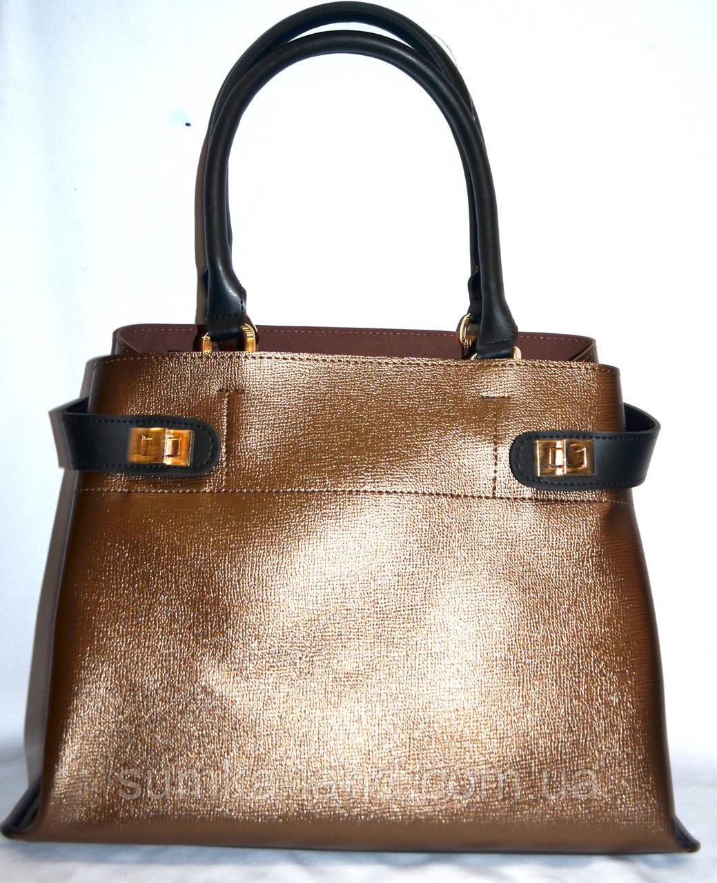 Женская бронзовая сумка класса Люкс 35*26 см