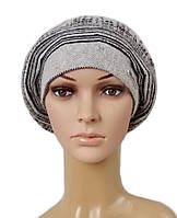 Берет женский вязаный Tina шерсть натуральная цвет серый светлый