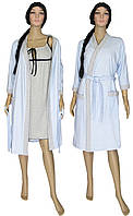 NEW! Женские ночные рубашки в комплекте с утепленными халатами - серия Amarant Soft Light Blue ТМ УКРТРИКОТАЖ!