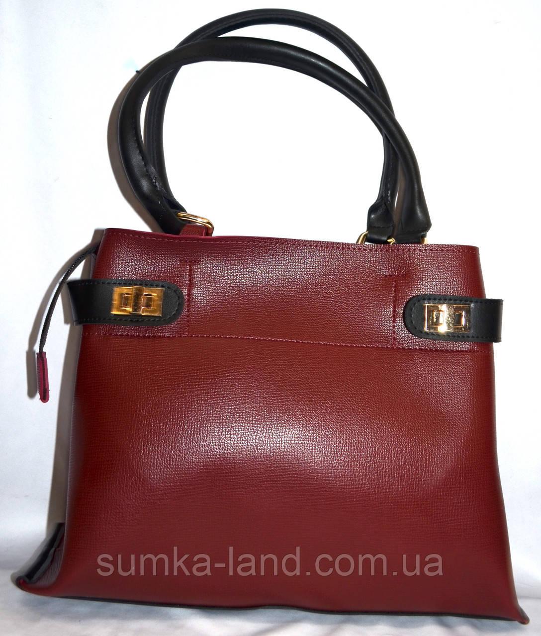 Женская бордовая сумка класса Люкс 35*26 см