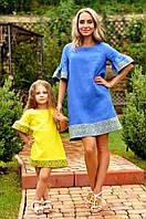 Комплект вышитых платьев для мамы и дочки с уникальным орнаментом (П22-293 и ДП22-253)