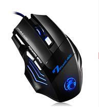 Игровая мышь мишка USB 2400DPI мышка компьютерная оптическая черная LED windows X7 Imice, фото 3