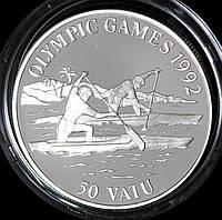 Серебряная монета Вануату 50 вату 1992 г. Олимпийские игры. Пруф