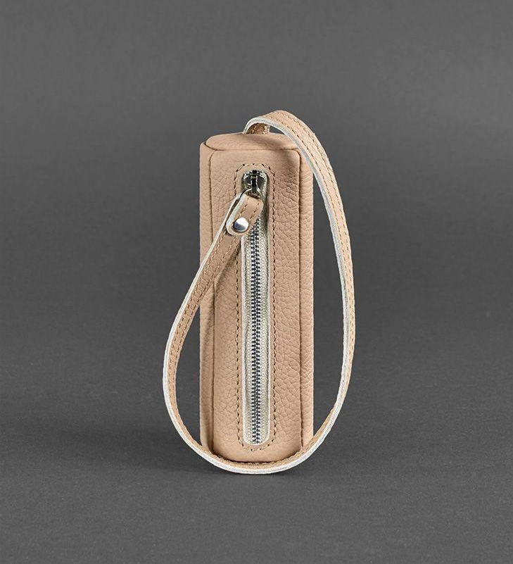 Чехол для ключей кожаный ключница на змейке бежевая