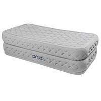 Надувная велюровая кровать Intex 64462 со встроенным насосом 220V, 191 х 99 х 51 см