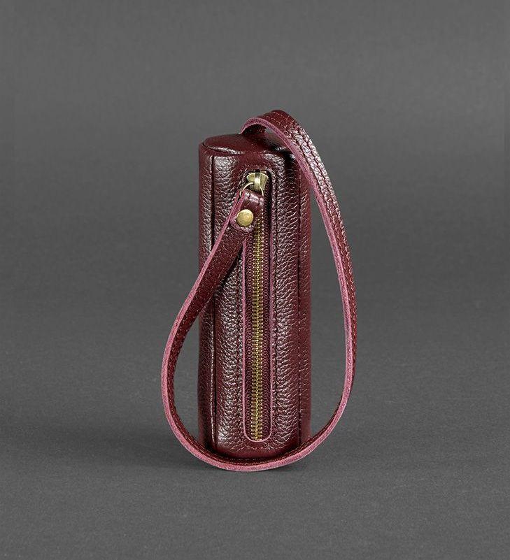 Чехол для ключей кожаный ключница на змейке марсала