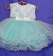 Платье нарядное бальное детское 1 год бирюза