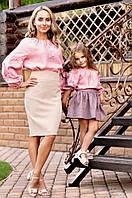 Комплект вышиванок для мамы и дочки из натуральной ткани с вышитыми розами (Ж24-276 и Д24-276), фото 1