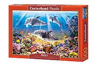 """Пазлы Касторленд 500 деталей - """"Дельфины под водой"""" Castorland 51014. Быстрая доставка по Украине"""