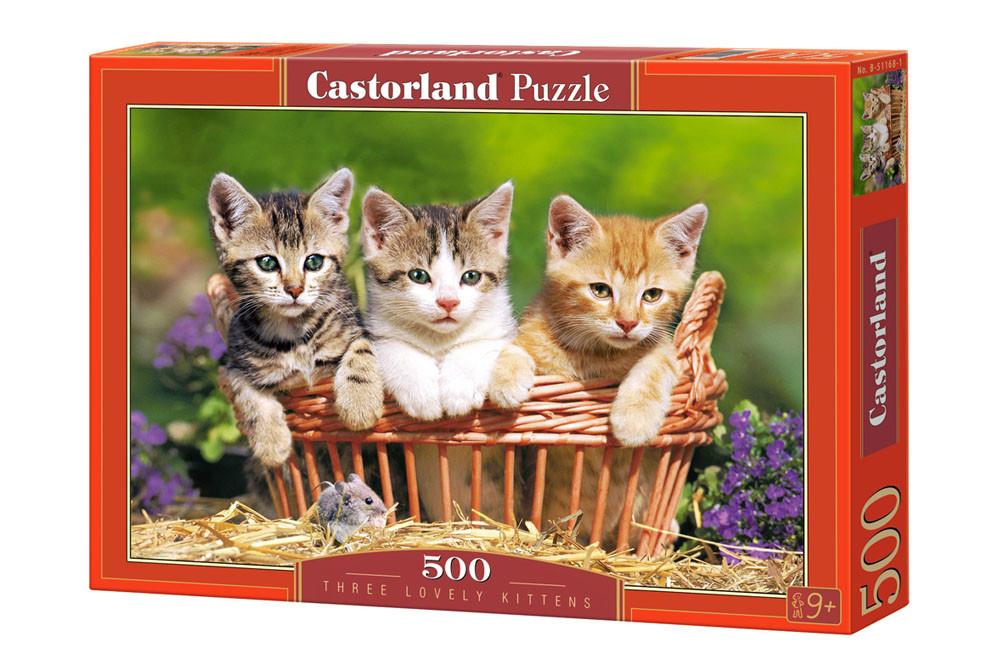 """Пазлы Касторленд на 500 деталей. """"Три милых котёнка"""". Castorland 51168. Быстрая доставка по Украине."""