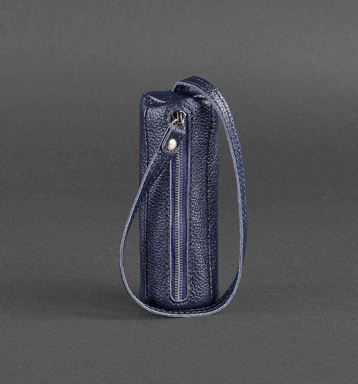 Чехол для ключей кожаный ключница на змейке черная