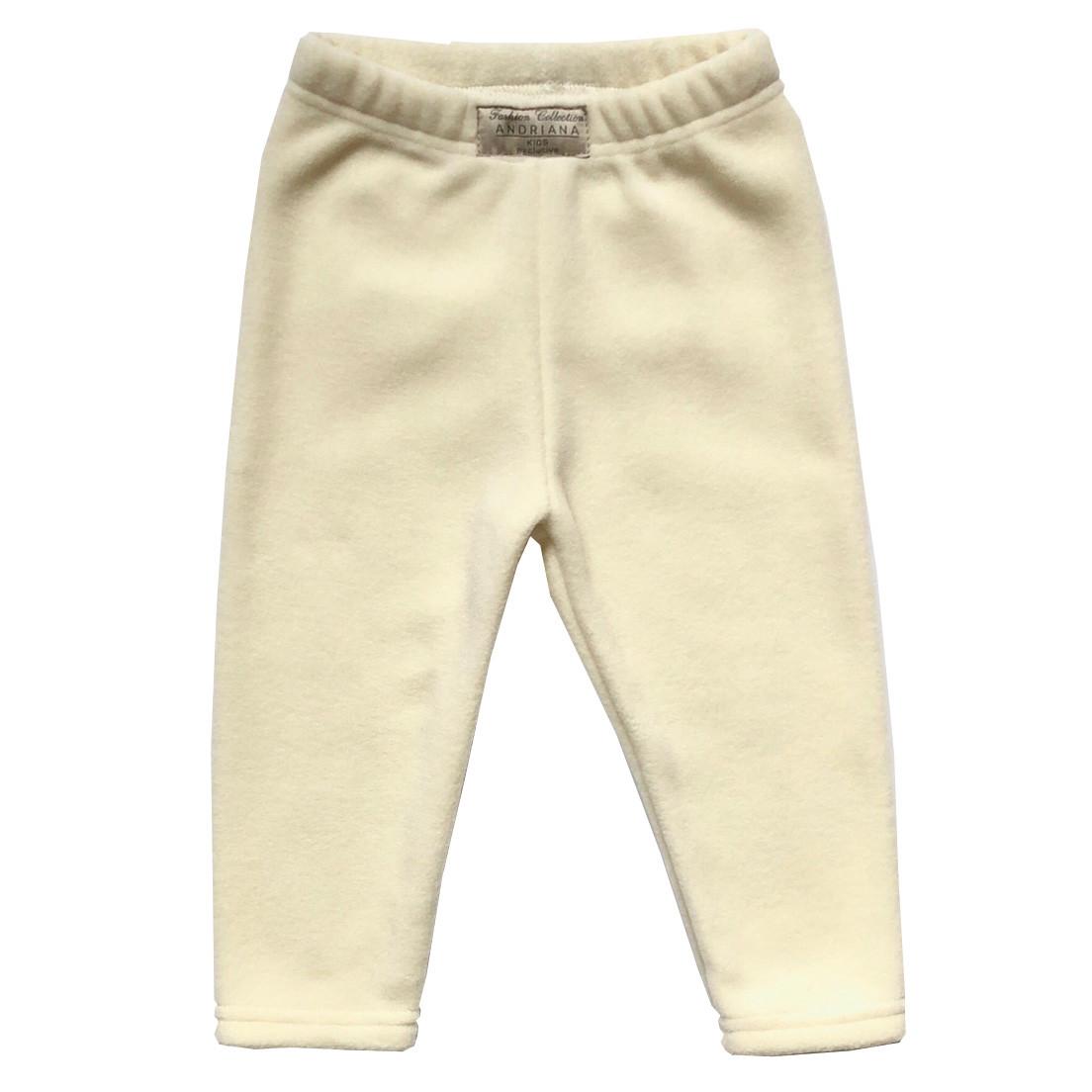 Теплые флисовые штанишки Andriana Kids для девочки от 1 до 4 лет молочные