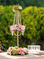 """Цветочная композиция на столы гостей """"Люстра с цветами и свечами"""""""
