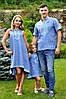 Семейный комплект из голубого льна с геометрическим орнаментом (М16к-273 / П03-273 и ДП03-273)
