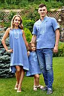 Семейный комплект из голубого льна с геометрическим орнаментом (М16к-273 / П03-273 и ДП03-273), фото 1