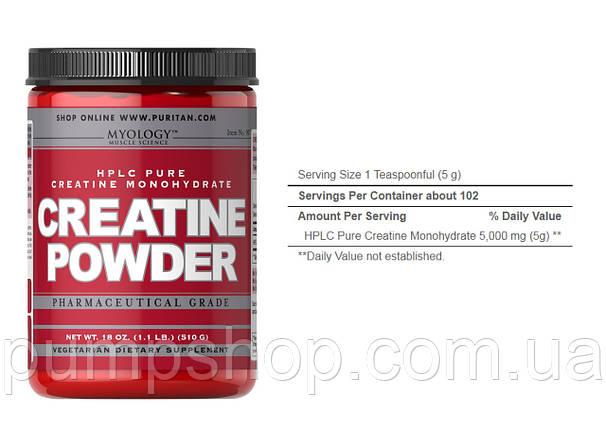 Креатин-моногидрат Myology Creatine Powder 510 грамм 102 порц., фото 2