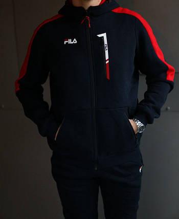 Спортивный зимний костюм с капюшоном мужской Fila на флисе , фото 2