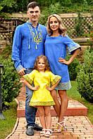 Оригинальный семейный комплект вышиванок Family look в национальном стиле (М22/1-293 / П22-293 и ДП22-253)
