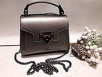 Шкіряна жіноча сумка .Колір металік
