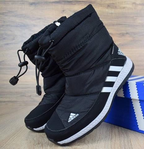 Зимние женские дутики сапоги Adidas черные. Живое фото (Реплика ААА ... 46f1cf5967b