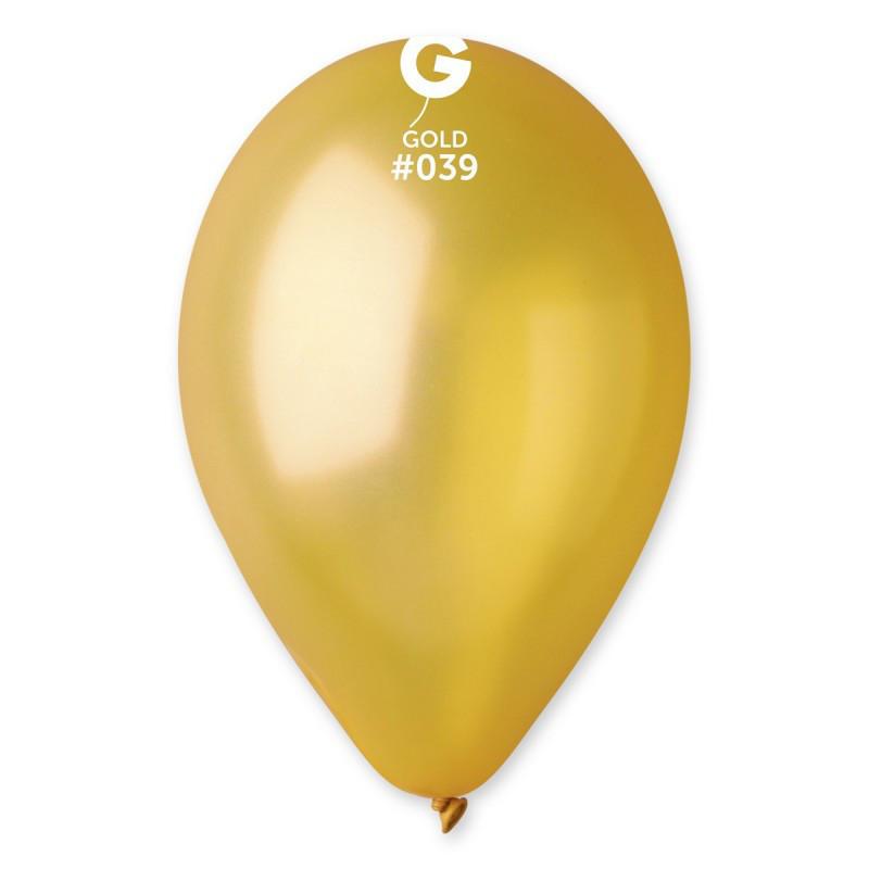 Металлик золото (25 см). Шарики воздушные  100шт .Gemar( Италия )