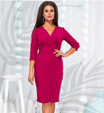 1a85b0db26e Купить Стильное платье на запах по колено малина 822753 недорого ...