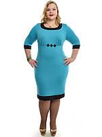 Прямое платье для офиса бирюзовое ДК-514