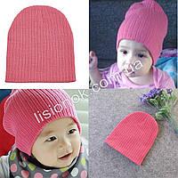 Розовая теплая двойная шапка в рубчик 40-53см, фото 1