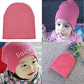 Розовая теплая двойная шапка в рубчик 40-53см
