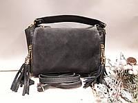 Шкіряна жіноча сумка перед замш